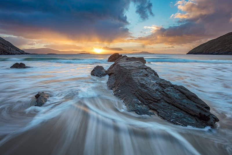 Dramatic winter sunrise from Keem Beach, Achill Island, County Mayo, Ireland.