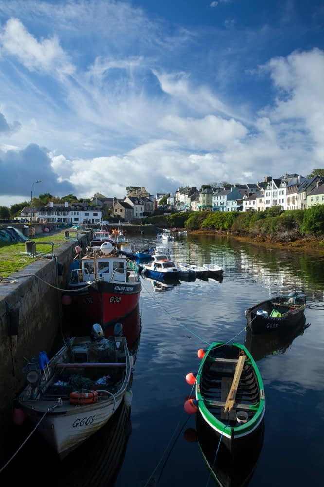 Fishing boats in Roundstone harbour, Connemara, Co Galway, Ireland.