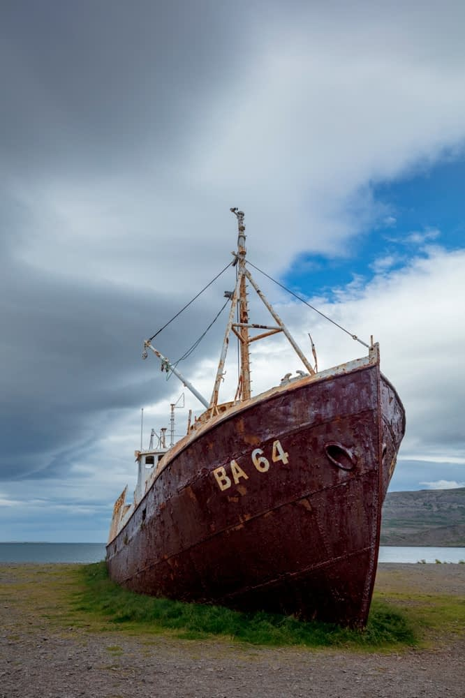 Gardar BA 64 ship wreck beached on the shore of Patreksfjordur. Westfjords, Iceland.