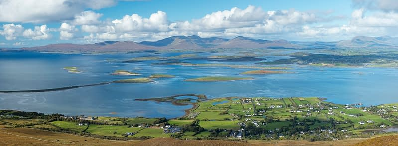View across Clew Bay from the summit of Croagh Patrick, County Mayo, Ireland.