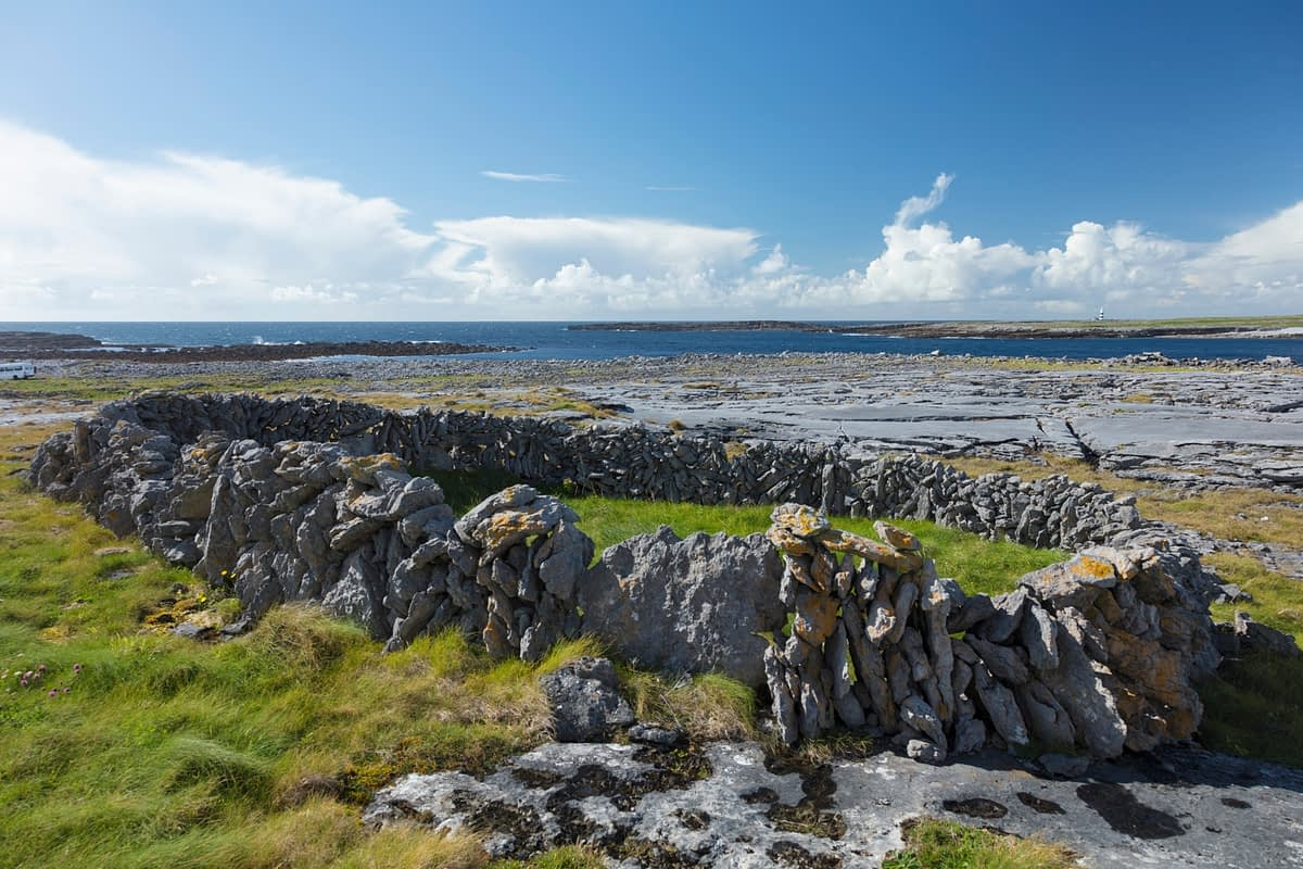 Old stone enclosure on Inishmore, Aran Islands, County Galway, Ireland.