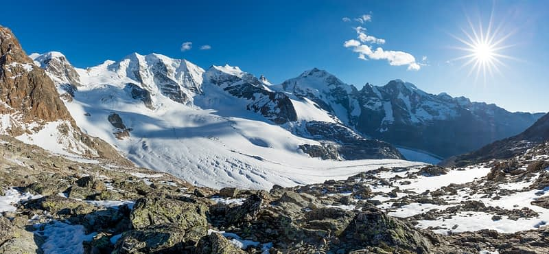 Piz Palu and Piz Bernina from Diavolezza, Berniner Alps, Graubunden, Switzerland.