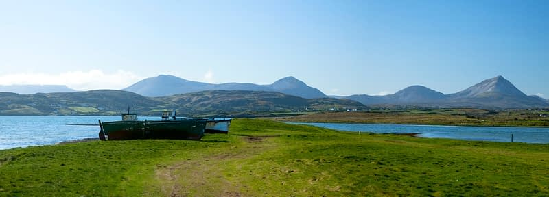 Lobster boats pulled up at Magheroarty, Co Donegal, Ireland.