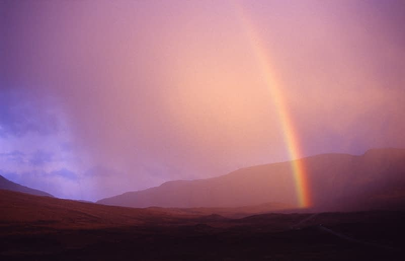 Rainbow at sunset, Co Donegal, Ireland.