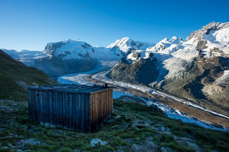 Wooden hut above the Gorner Glacier, Zermatt, Valais, Switzerland.