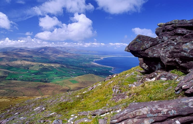 View of the Dingle Peninsula from the Slieve Mish Mountains, Co Kerry, Ireland.