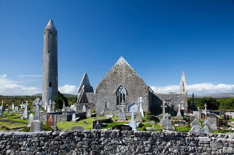 Kilmacduagh Churches and Round Tower, Co Galway, Ireland.