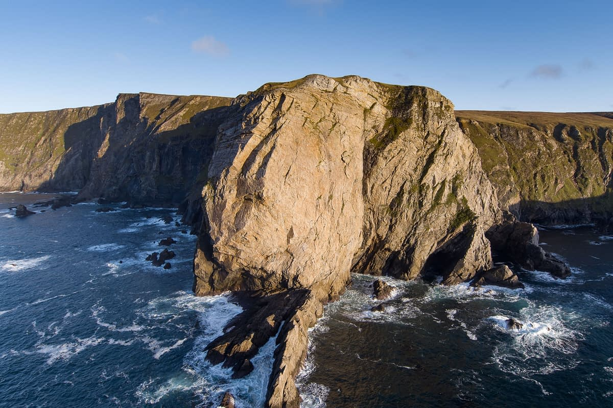 Aerial view of Benwee Head, County Mayo, Ireland.