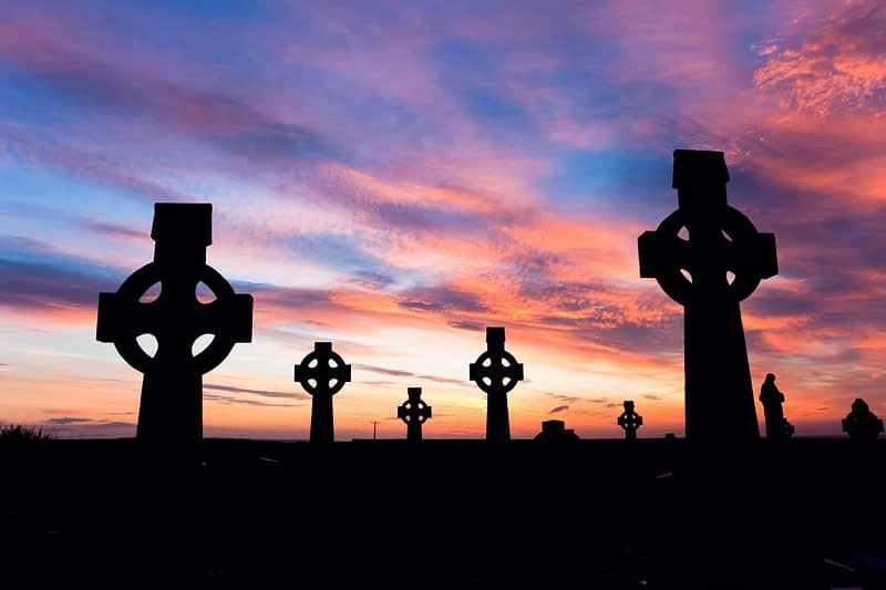 Celtic crosses at sunset, Co Sligo, Ireland.