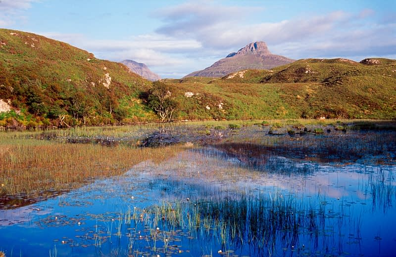 Lough reflections, Inverpolly National Nature Reserve, Sutherland, Scotland.