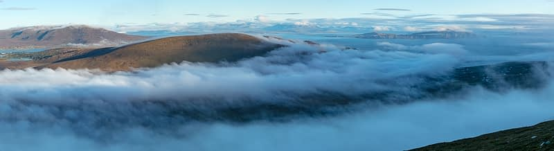Banks of mist rolling over Achill and Corraun, Achill Island, County Mayo, Ireland.