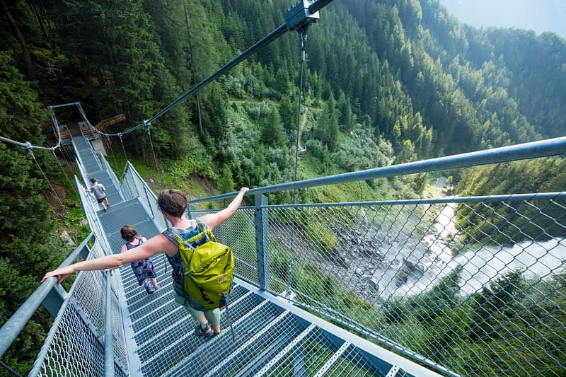 Suspended stairway beside Stuibenfall waterfall, Otztal, Valley, Tirol, Austria.