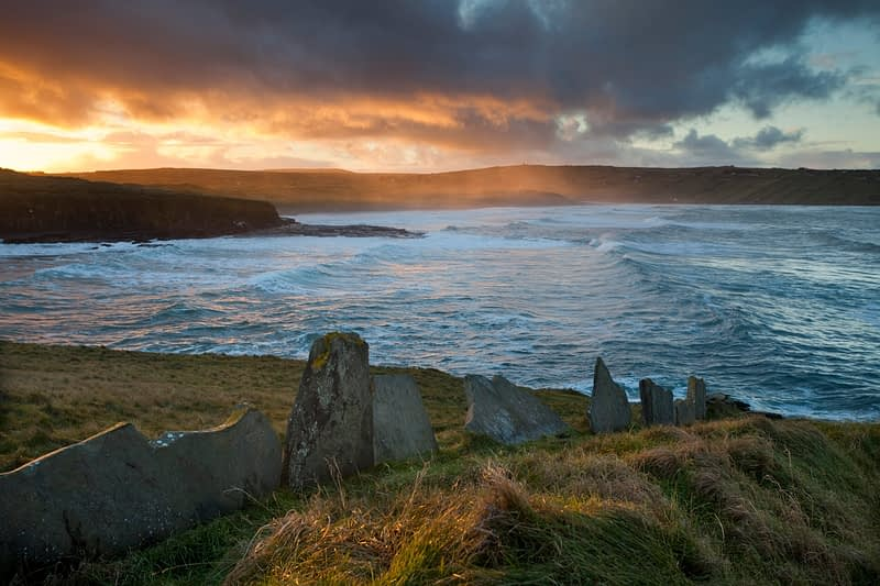 Stormy sunset over Lackan Bay, Co Mayo, Ireland.