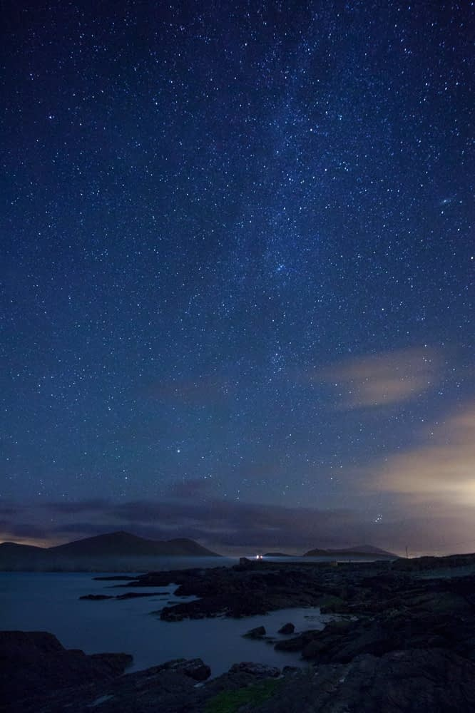 Milky Way above Cromwell Point lighthouse, Valentia Island, County Kerry, Ireland.