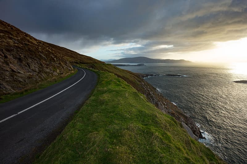 The road above Keem Bay on the Wild Atlantic Way, Achill Island, County Mayo, Ireland.