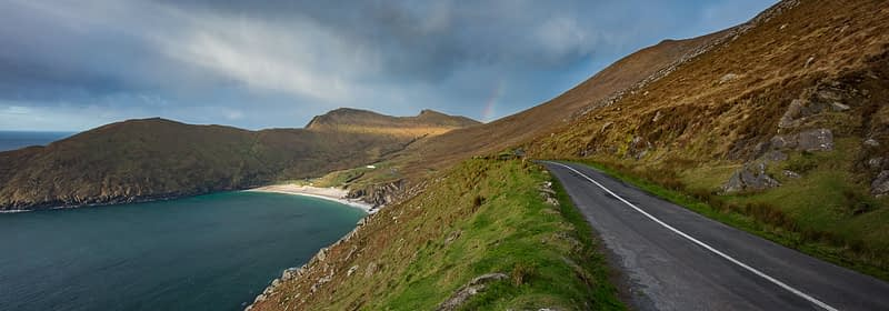 The road to Keem Bay on the Wild Atlantic Way, Achill Island, County Mayo, Ireland.