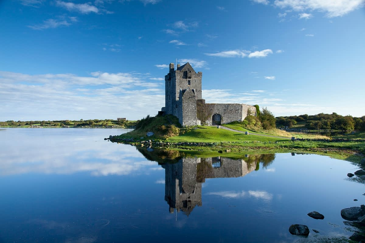 Morning reflection of Dunguaire Castle, Kinvara, Co Galway, Ireland.