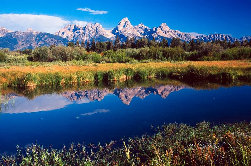 Reflection of the Grand Tetons, Wyoming, USA.