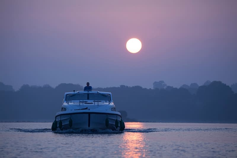 Cruising at dawn, Lough Ree, River Shannon, County Westmeath, Ireland.