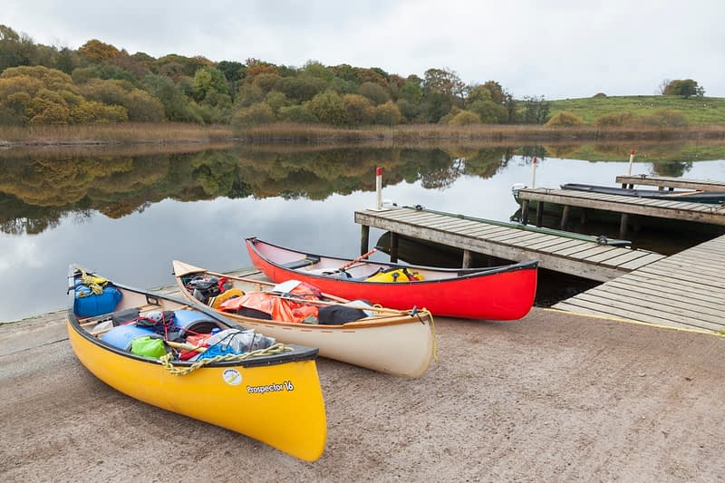 Canoes on the slipway at Crom Estate, Upper Lough Erne, County Fermanagh, Northern Ireland.