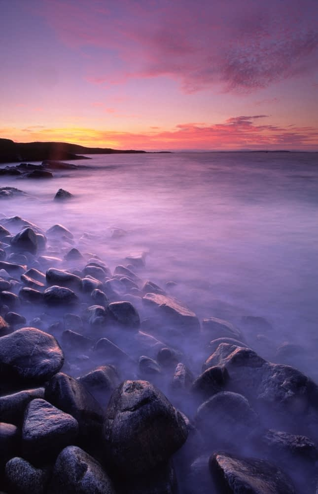 Sunset from the shore of Mannin Bay, Connemara, Co Galway, Ireland.