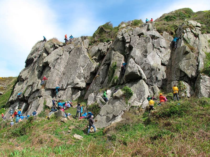 Rock climbers at Dunmore Head during Colmcille Climbers Climbfest, Culdaff, County Donegal, Ireland.