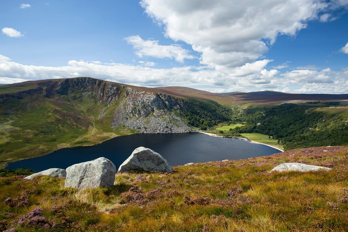 View over Lough Tay, Wicklow Mountains, Co Wicklow, Ireland.