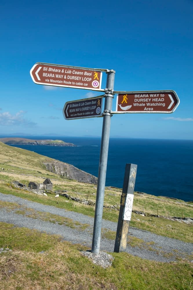Walking signposts on Dursey Island, Beara Peninsula, County Cork, Ireland.
