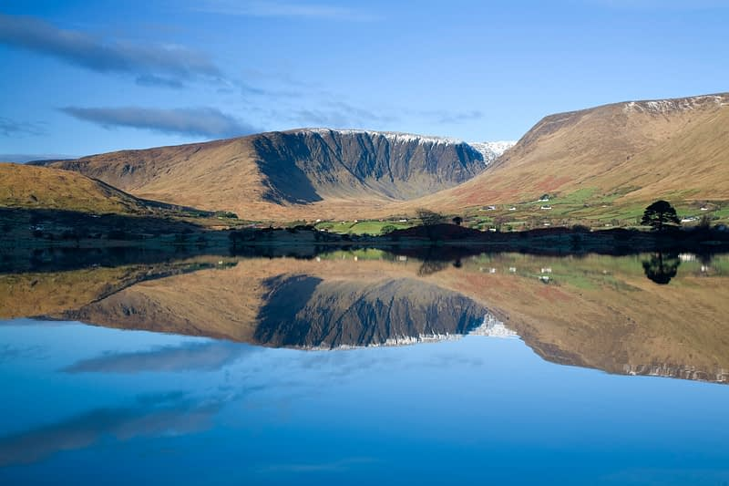 Reflection of Maumtrasna in Lough Mask, Co Mayo, Ireland.