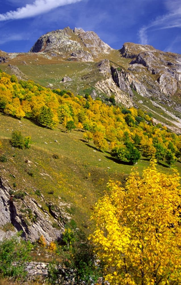 Autumn mountain scenery above Les Chapieux, French Alps, France.