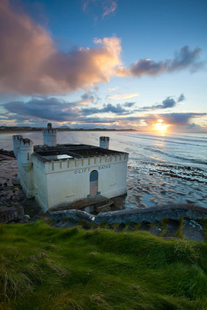 Sunset at the old seaweed baths, Enniscrone, Co Sligo, Ireland.
