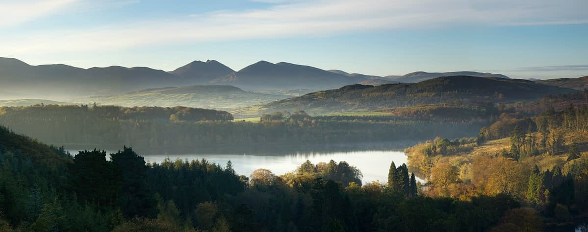 The Mourne Mountains from Castlewellan Forest Park, Co Down, Northern Ireland.