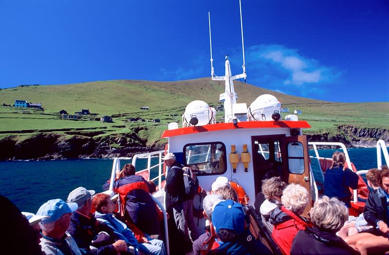 Walkers on the ferry to Great Blasket Island, Co Kerry, Ireland.