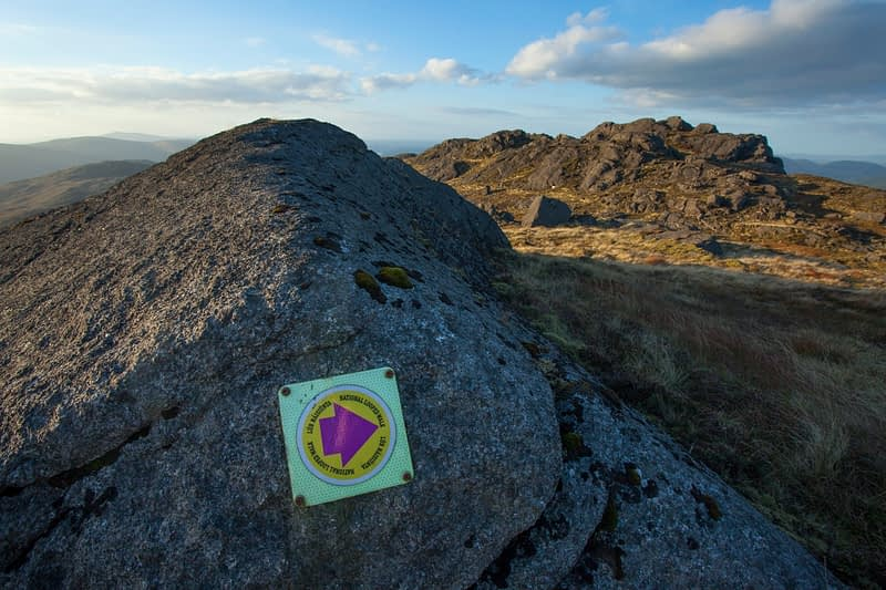 Waymarks for National Looped Walk on Slieve Foye, Carlingford, County Louth, Ireland.