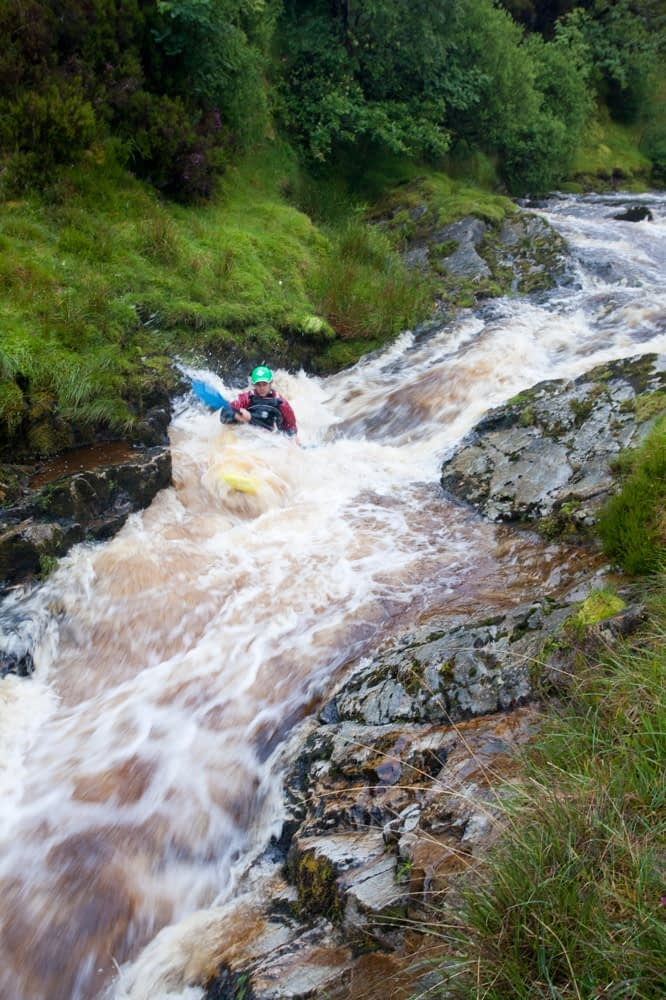 Whitewater kayaking on the Upper Deel River, Co Mayo, Ireland.