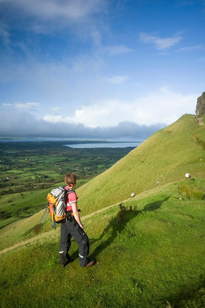 Walker ascending Benbulbin via the Kings Gully track, Co Sligo, Ireland.
