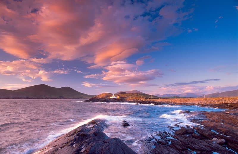Sunset over Cromwell Point lighthouse, Valentia Island, Co Kerry, Ireland.