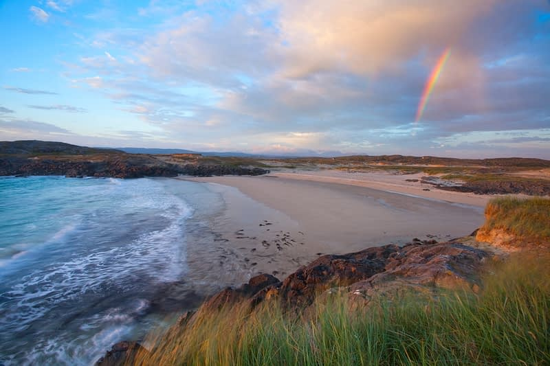 Evening rainbow over False Bay, Mannin, Connemara, Co Galway, Ireland.