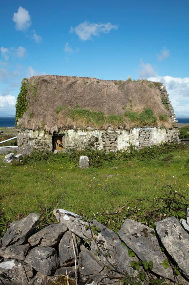 Old ruined thatch cottage on Inishmore, Aran Islands, County Galway, Ireland.