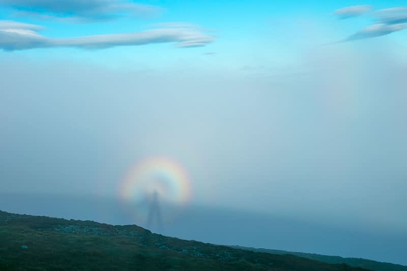 Brocken Spectre on the Menawn Heights, Achill Island, County Mayo, Ireland.