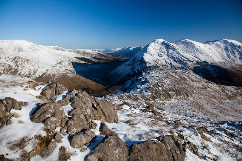 The Mweelrea massif in winter, Co Mayo, Ireland.