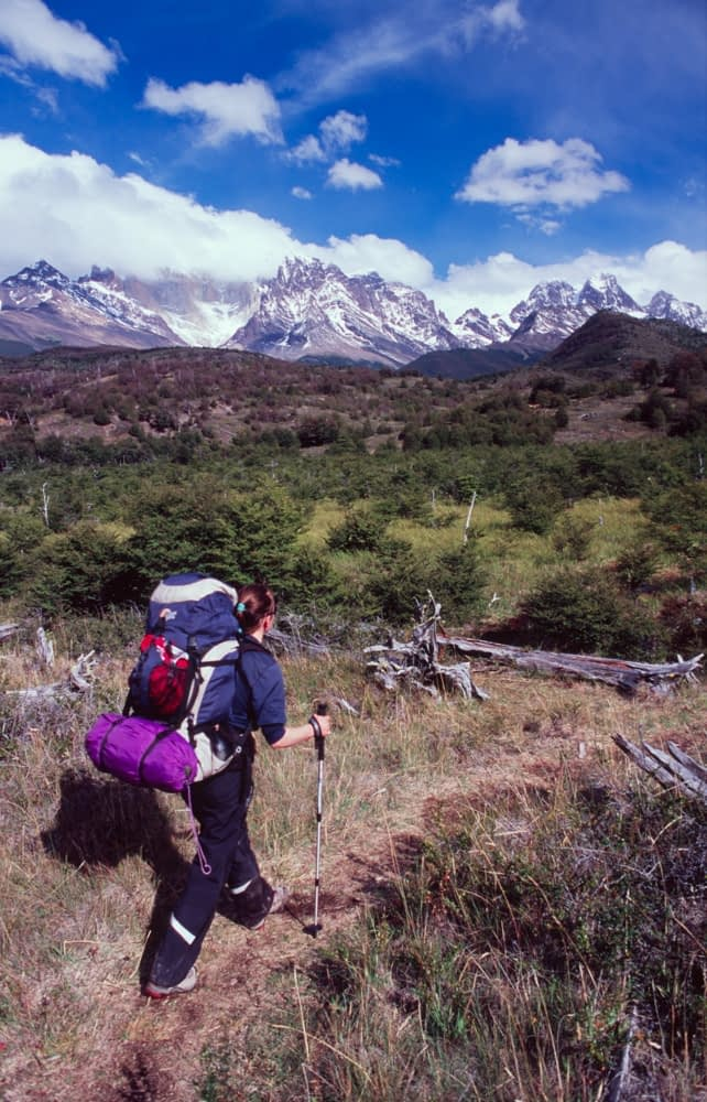 Trekker on the Paine Circuit, Torres del Paine National Park, Patagonia, Chile.
