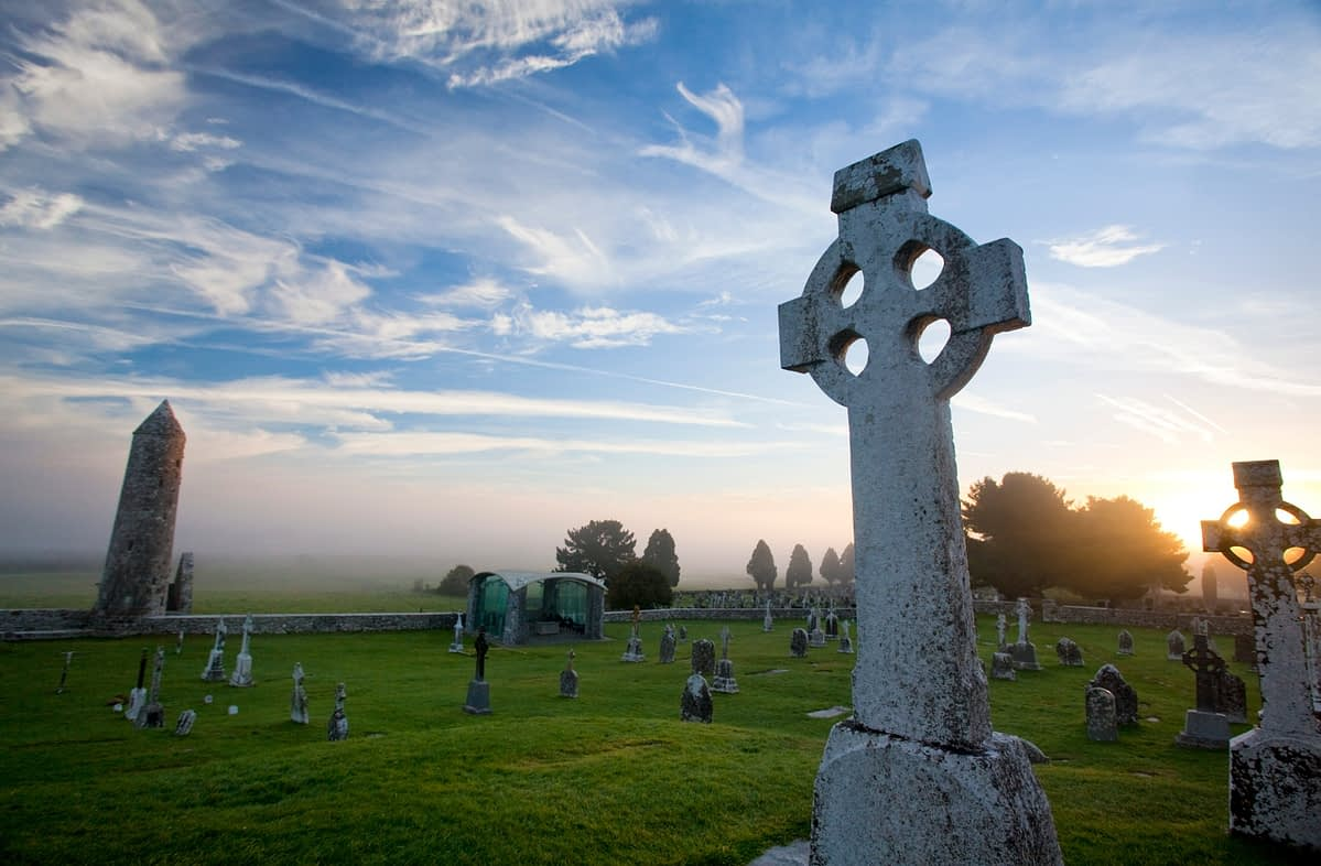 Dawn at Clonmacnoise monastic site, Co Offaly, Ireland.