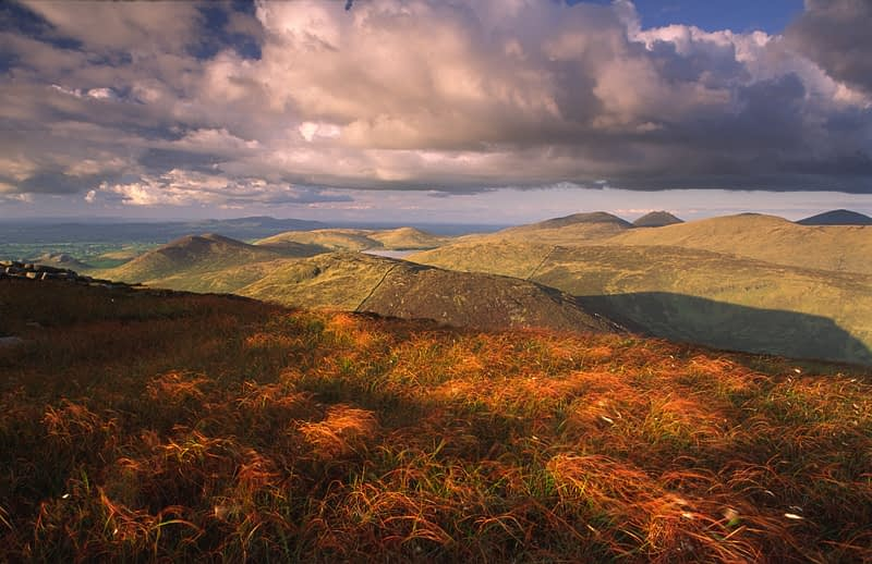 View across the Mournes from the summit of Eagle Mountain, Co Down, Northern Ireland.