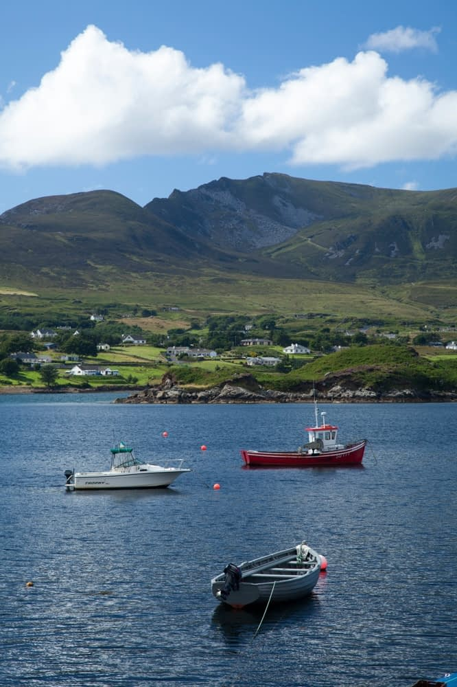 Fishing boats in Teelin Bay, beneath Slieve League, County Donegal, Ireland.