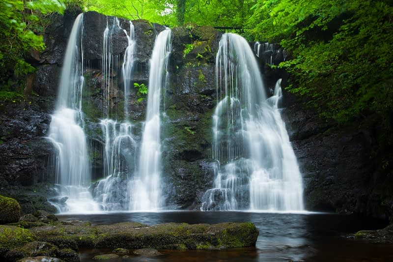 Ess-Na-Crub Waterfall, Glenariff Forest Park, County Antrim, Northern Ireland.