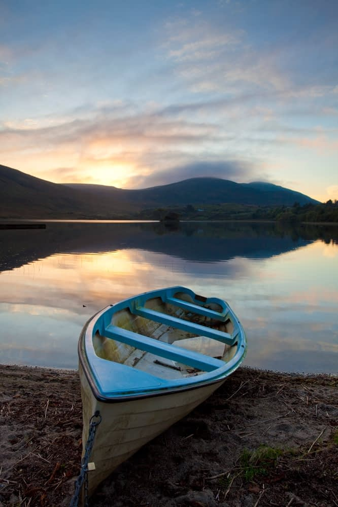 Boat on the shore of Lough Talt, Co Sligo, Ireland.