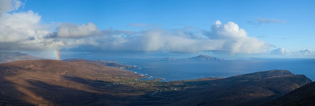 Clare Island and Knockmore rainbow, Achill Island, Co Mayo, Ireland.
