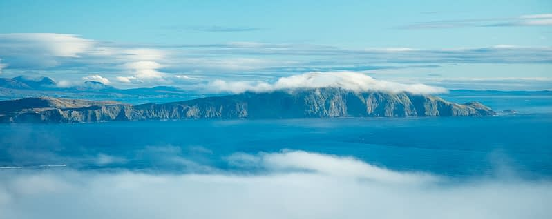 Clare Island between the clouds, County Mayo, Ireland.
