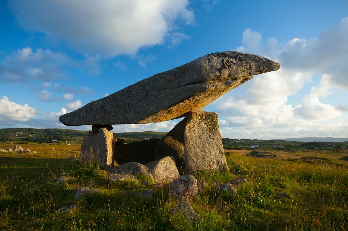 Evening light on Kilcooney Dolmen, County Donegal, Ireland.
